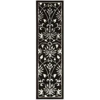 Nourison Hand-tufted Versailles Palace Floral Black/White Rug (2'3 x 8') Runner