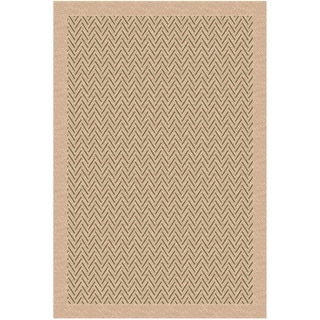 Woven Indoor/ Outdoor Herringbone Beige/ Green Patio Rug (5'3x7'6)