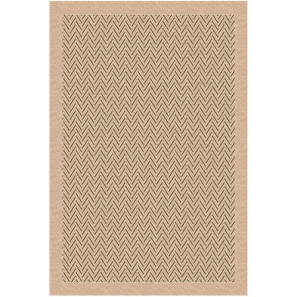 Woven Indoor/ Outdoor Herringbone Beige/ Green Patio Rug (5'3x7'6)