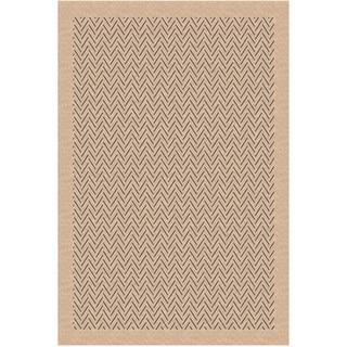 Woven Indoor/ Outdoor Herringbone Beige/ Grey Patio Rug (5'3x7'6)