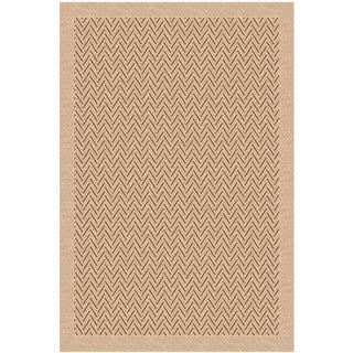 Woven Indoor/ Outdoor Herringbone Light Brown/ Beige Patio Rug (5'3x7'6)