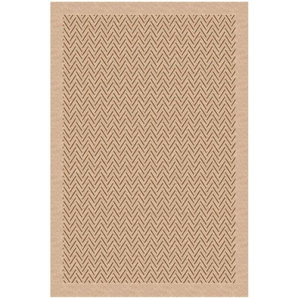 Woven Indoor/ Outdoor Herringbone Light Brown/ Beige Patio Rug (5'3x7'6)