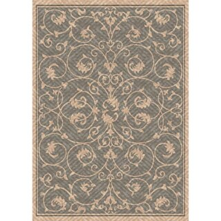 Woven Antibes Beige/ Grey Indoor/ Outdoor Patio Rug (5'3 x 7'6)
