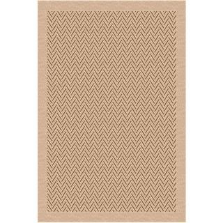 Woven Indoor/ Outdoor Herringbone Beige/ Light Brown Patio Rug (5'3x7'6)