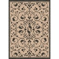 Woven Antibes Beige/ Black Indoor/ Outdoor Patio Rug (5'3 x 7'6)