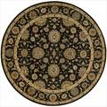 Living Treasures Black Round Rug (5'10 x 5'10)