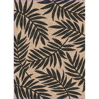 Woven Captiva Beige/ Black Indoor/ Outdoor Patio Rug (5'3 x 7'6)