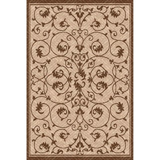 Woven Antibes Beige/ Light Brown Indoor/ Outdoor Patio Rug (6'7 x 9'6)