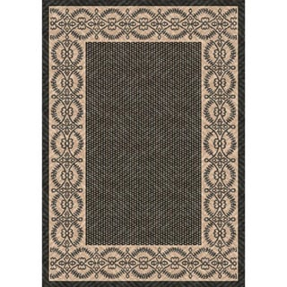 Woven Barrymore Black/ Beige Indoor/ Outdoor Patio Rug (5'3 x 7'6)