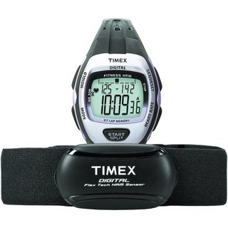 Timex Women's T5K731 Zone Trainer Heart Rate Monitor Black/Silvertone Watch