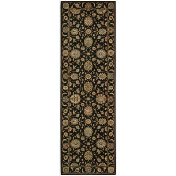 Living Treasures Black Runner Rug (2'6 x 8)
