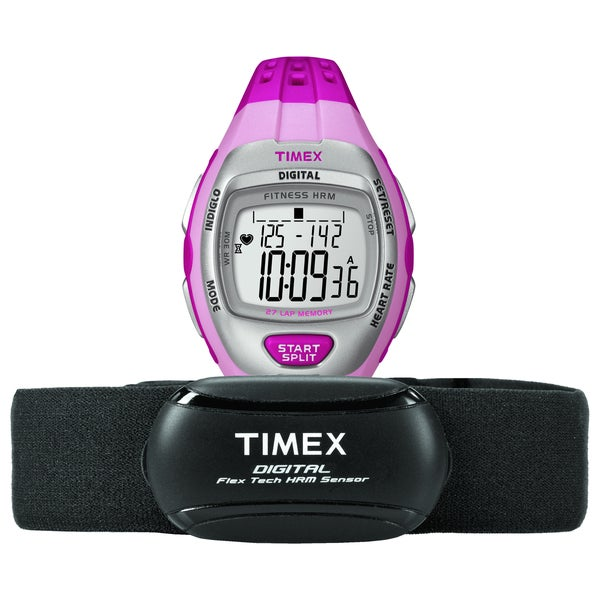 Timex T5K734F5 Women's Zone Trainer Heart Rate Monitor Pink/ Silvertone Watch