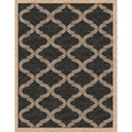 Woven Bombay Black/ Beige Indoor/ Outdoor Patio Rug (5'3 x 7'6)