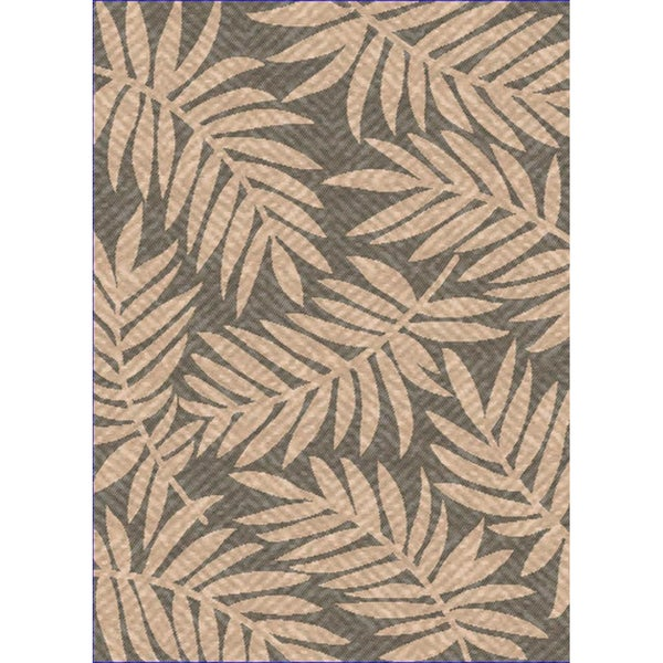 Woven Indoor/ Outdoor Captiva Grey/ Beige Patio Rug (7'9 x 11')