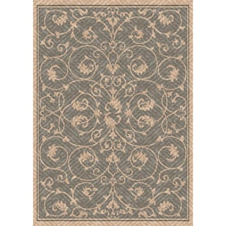 Woven Indoor/ Outdoor Antibes Grey/ Beige Patio Rug (5'3 x 7'6)