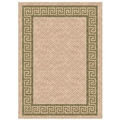 Woven Indoor/ Outdoor Greek Key Beige/ Green Patio Rug (5'3 x 7'6)