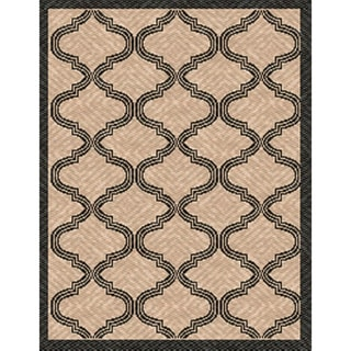 Woven Indoor/ Outdoor Bombay Beige/ Black Patio Rug (5'3 x 7'6)