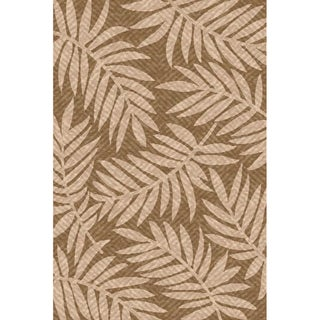 Woven Indoor/ Outdoor Captiva Lt Brown/ Beige Patio Rug (6'7 x 9'6)