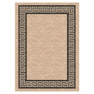 Woven Indoor/ Outdoor Greek Key Beige/ Black Patio Rug (5'3 x 7'6)