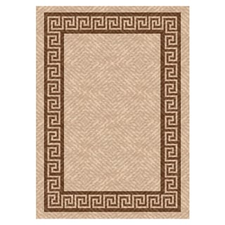 Woven Indoor/ Outdoor Greek Key Beige/ Brown Patio Rug (7'9X11')