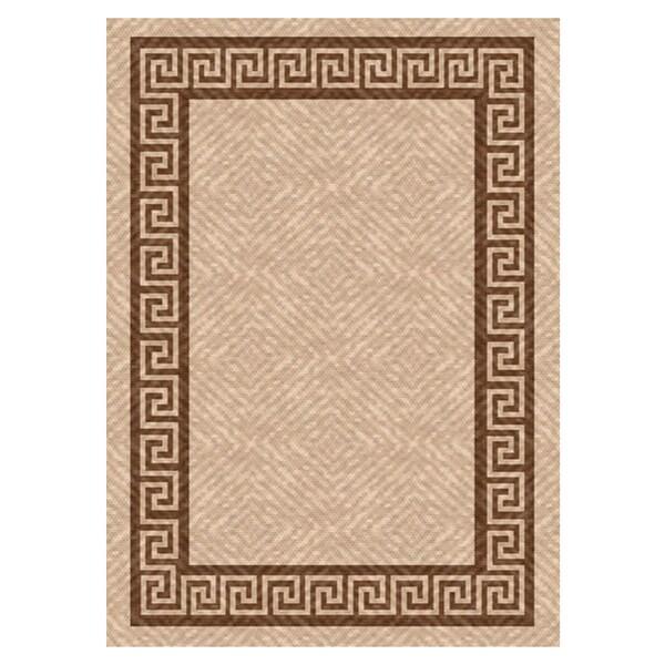 Woven Indoor/ Outdoor Greek Key Beige/ Brown Patio Rug (7'9X11')