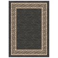 Woven Indoor/ Outdoor Greek Key Black/ Beige Patio Rug (5'3 x 7'6)