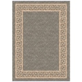 Woven Indoor/ Outdoor Greek Key Grey/ Beige Patio Rug (5'3 x 7'6)