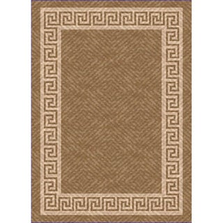 Woven Indoor/ Outdoor Greek Key Lt Brown/ Beige Patio Rug (7'9 x 11')