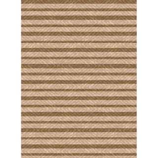 Woven Indoor/ Outdoor Summer Stripe Beige/ Lt Brown Patio Rug (6'7 x 9'6)