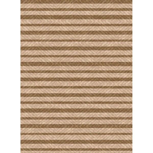 Woven Indoor/ Outdoor Summer Stripe Beige/ Lt Brown Patio Rug (6'7 x 9'6)