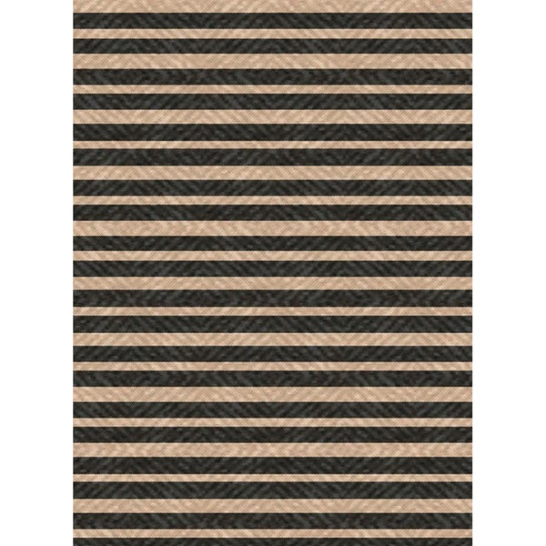 Woven Indoor/ Outdoor Summer Stripe Black/ Beige Patio Rug (5'3 x 7'6)