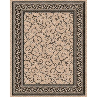 Woven Indoor/ Outdoor Meadow Beige/ Black Patio Rug (5'3 x 7'6)