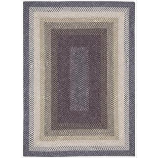 Hand woven Craftwork Braided Violet Mutli Color Rug (2'3 x 3'9)