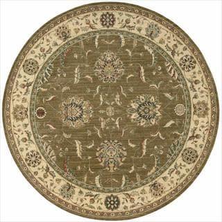 Living Treasures Khaki Round Rug (7'10 x 7'10)