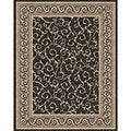 Woven Indoor/ Outdoor Meadow Black/ Beige Patio Rug (5'3 x 7'6)