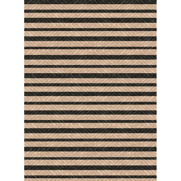 Woven Indoor Outdoor/ Summer Stripe Beige/ Black Patio Rug (5'3 x 7'6)