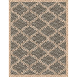 Woven Indoor/ Outdoor Bombay Grey/ Beige Patio Rug (5'3 x 7'6)