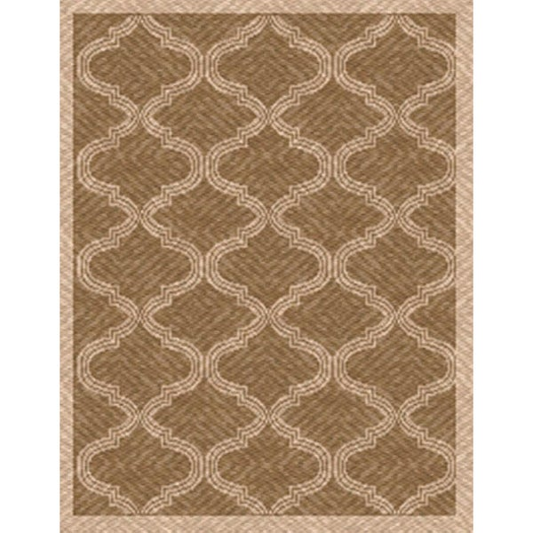 Woven Indoor/ Outdoor Bombay Lt Brown/ Beige Patio Rug (7'9 x 11')