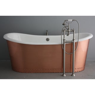 The Glastonbury 72-inch Cast Iron French Bateau Bathtub with Brushed and Lacquered Copper