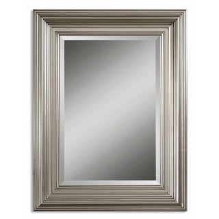 Mario Silver Wood Framed Beveled Mirror