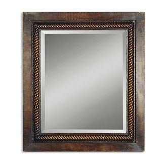 Uttermost Tanika Dark Brown Iron Framed Beveled Mirror