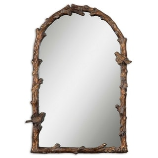 Paza Antique Gold Branch Framed Arched Mirror