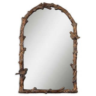 Uttermost Paza Antique Gold Branch Framed Arched Mirror - 25.5x36.75x2.5