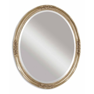 Newport Antique Silver Leaf Framed Beveled Oval Mirror