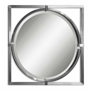 Kagami Square Nickel Beveled Round Mirror