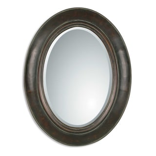 Tivona Chestnut Copper Framed Beveled Oval Mirror