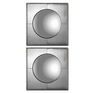 Uttermost Savio Silver Leaf Square Framed Convex Mirrors (Set of 2)