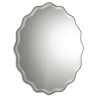 Teodora Antiqued Ruffled Beveled Oval Mirror