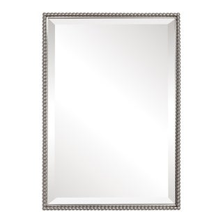 Sherise Brushed Nickel Bead Framed Beveled Mirror