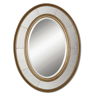 Lara Antiqued Champagne Silver Beveled Oval Mirror
